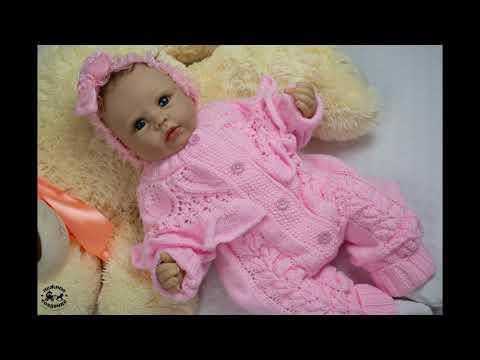 Розовый комбинезон для девочки.Вязанный комбинезон для новорожденных