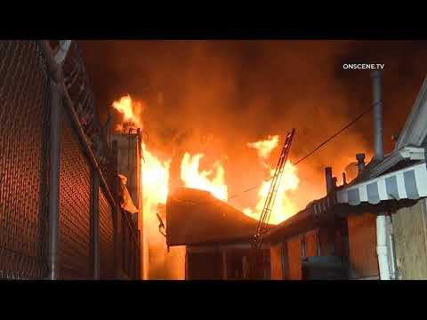 Fire Destroys Home in Los Angeles