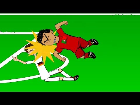 PEPE HEADBUTTS MULLER 🇩🇪Germany vs Portugal 4-0🇵🇹 (World Cup Cartoon Pepe Red Card 16.6.14)