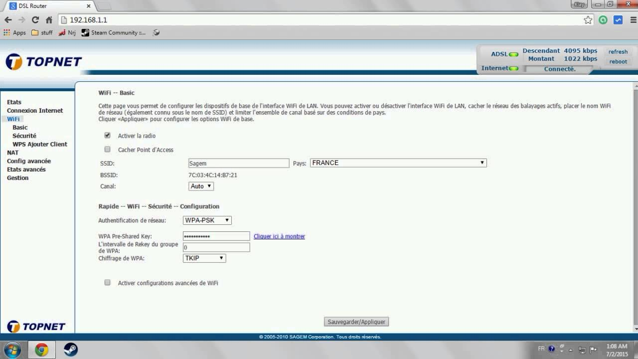 how to get or change WIFI password on sagem router
