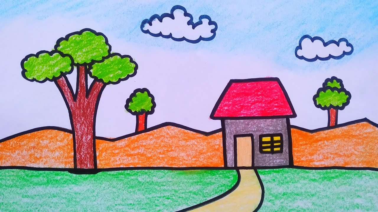 How To Draw Nature Scenery And Home Drawing For Kids Youtube