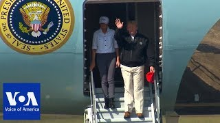 President Trump and Melania Arrives in Florida to Survey Damage from Hurricane Michael