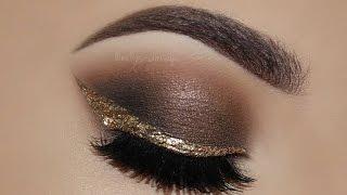 ♡ Neutral & Glamorous Smokey Eyes + Gold Eyeliner Makeup Tutorial!   Melissa Samways ♡
