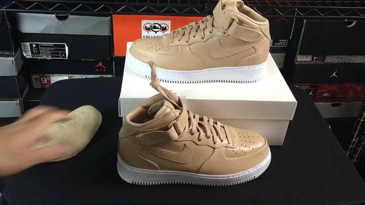 8d0fe83366d4 NikeLab Air Force 1 One Mid Vachetta Tan Unboxing Review - YouTube