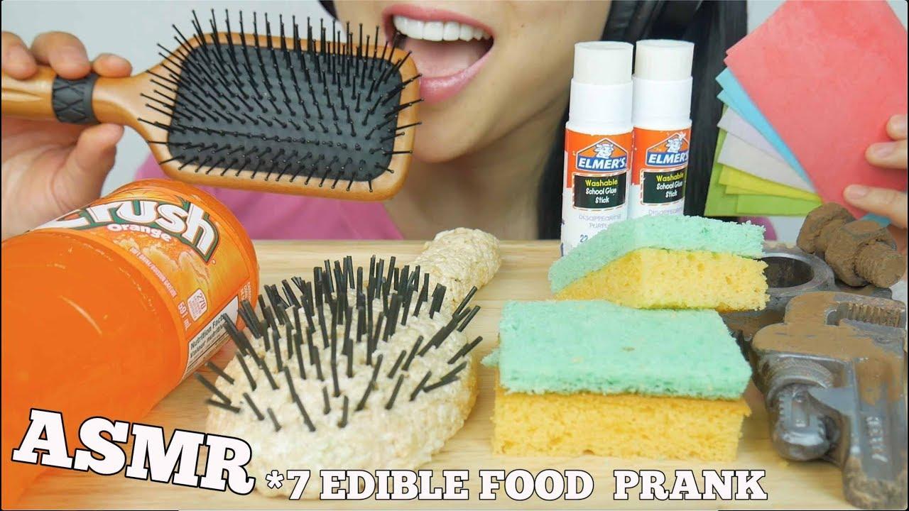 ASMR 7 MOST POPULAR FOOD PRANK Glue Hairbrush Sponge Deodorant (EATING SOUNDS) NO TALKING | SAS-ASMR