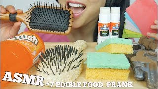 ASMR 7 MOST POPULAR FOOD PRANK Glue Hairbrush Sponge Deodorant (EATING SOUNDS) NO TALKING | SAS-ASMR