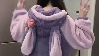 귀여운 토끼후드 극세사 원피스 가운 파자마 홈웨어 잠옷
