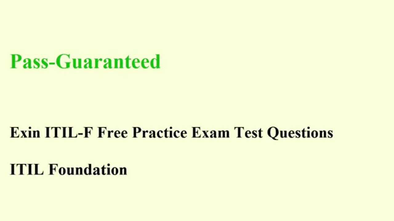Itil F Exam Itil Foundation Test Certification Questions Youtube
