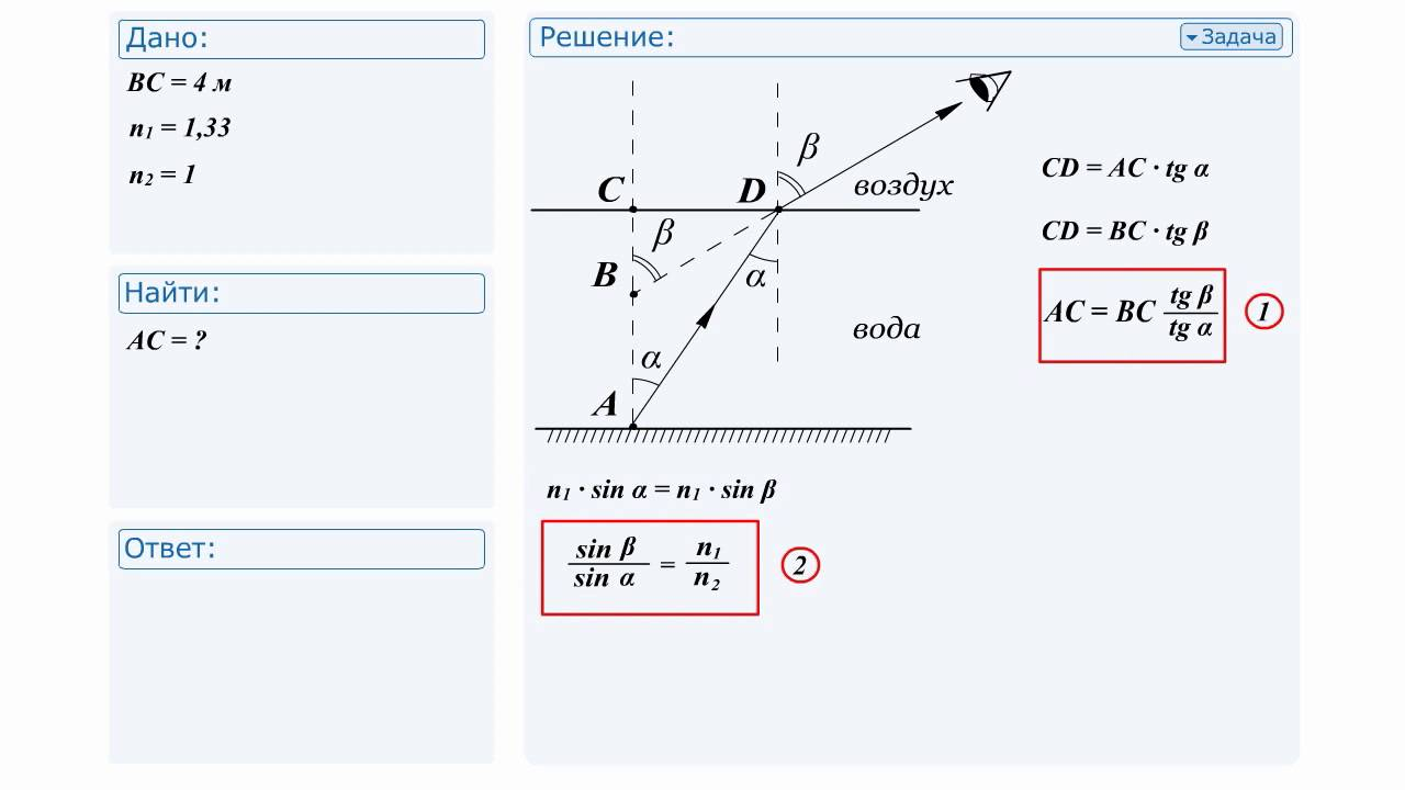 Оптика физика задачи и решение homework помощь студентам