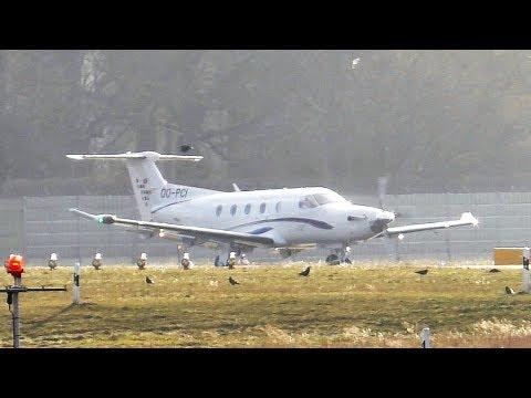 European Aircraft Private Club Pilatus PC12/47E OO-PCI Taxiing + Rotate at Berlin Tegel Airport
