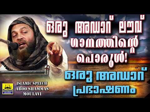 Oru Adaar Love  ഒരു അഡാറ് പ്രഭാഷണം | Latest Islamic Speech In Malayalam 2018 | Abu Shammas Moulavi