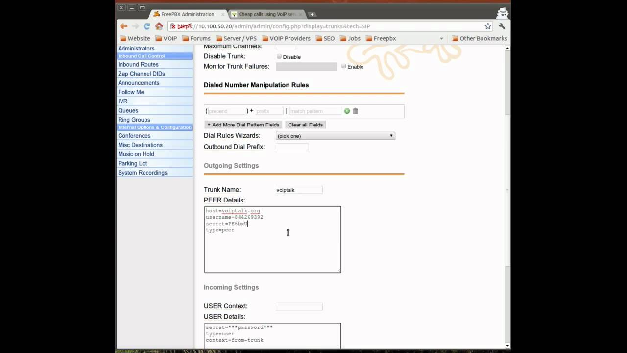 Outbound calling in FreePBX