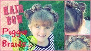 Little Girl Reverse Braid Piggy Hair Bow