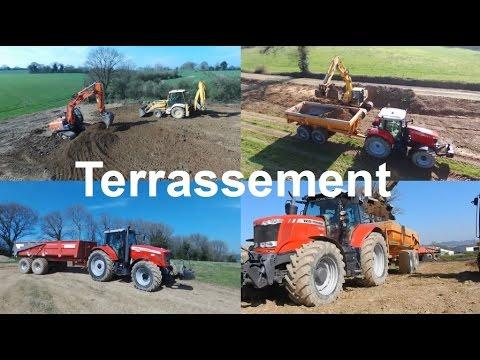 Terrassement 2 pelleteuses 2 tracteurs bennes [Drone Parrot Bebop 2 | Gopro hero 4]