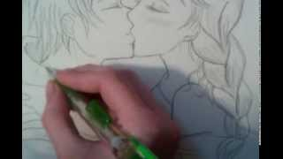 How to draw Elsa and Jack Frost kissing STEP BY STEP!