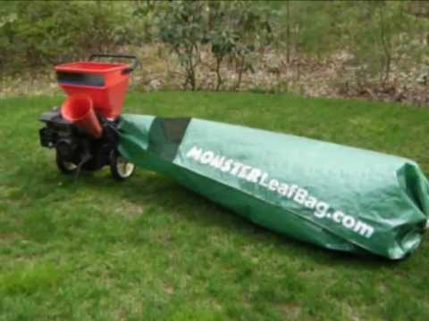 Wood Chipper collects huge amounts of chips with Monster Leaf Bag attached.