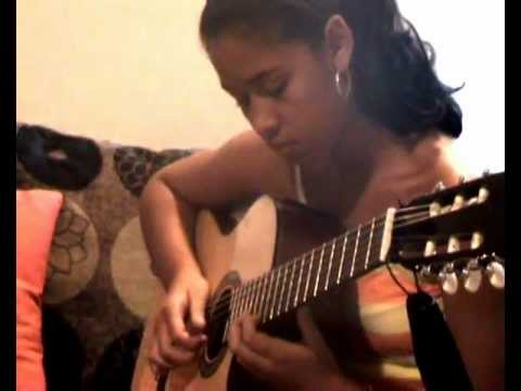 .the look of love.. young teen play bossa on guitar