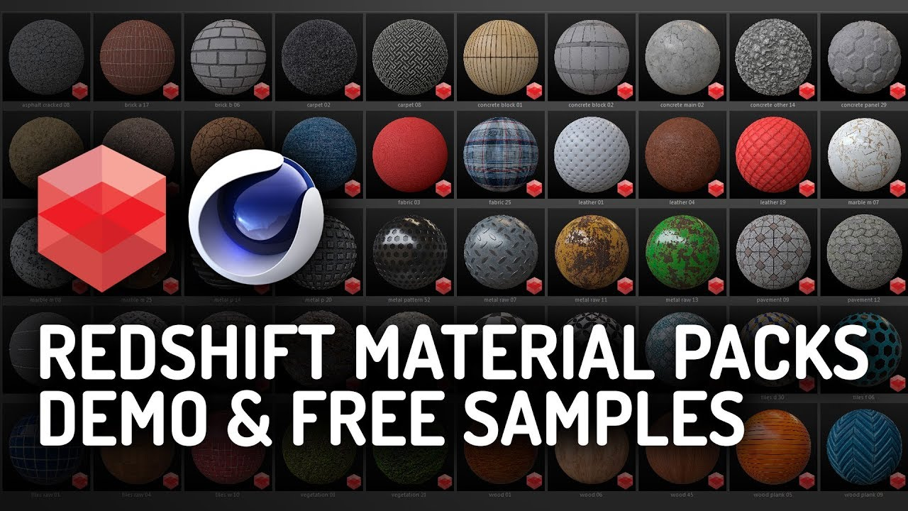 Redshift Material Packs DEMO & FREE SAMPLES