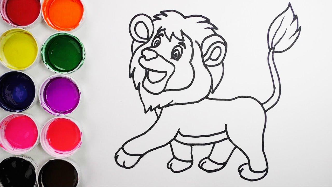 Dibuja y Colorea Un Leon De Arco Iris Dibujos Para Niños