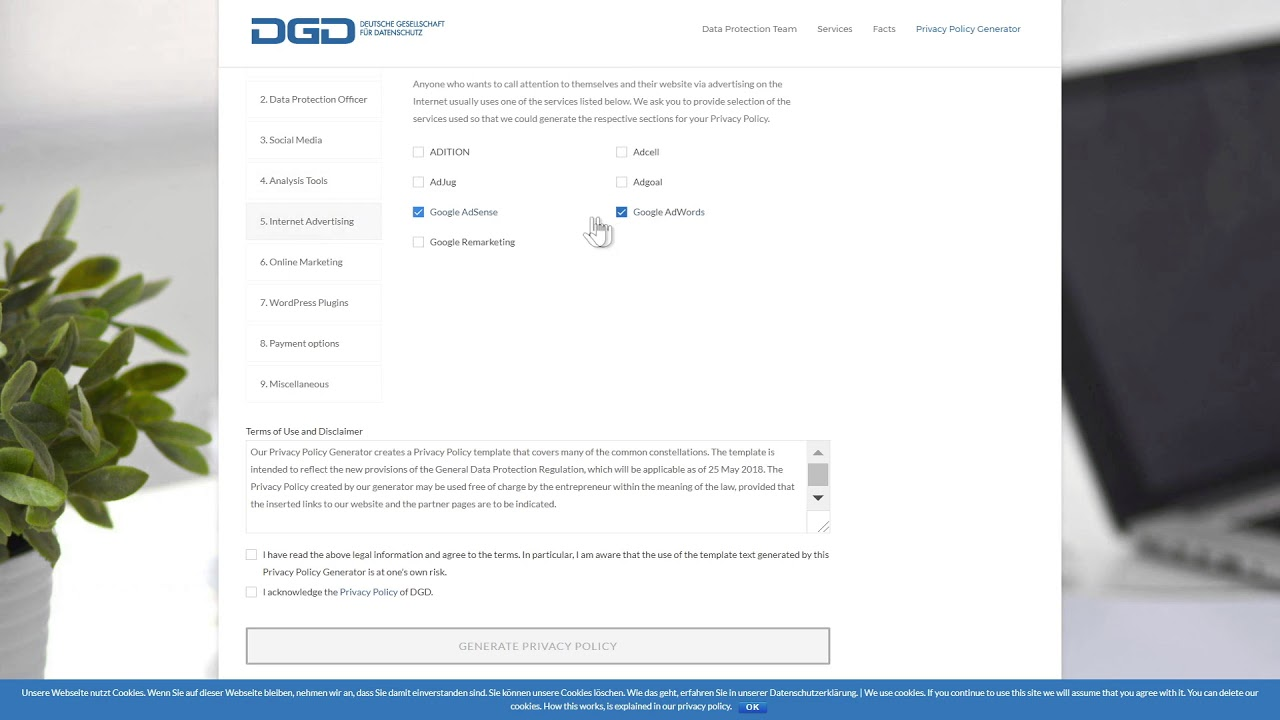 dsgvo muster datenschutzerklrung generator kostenlos - Muster Datenschutzerklarung