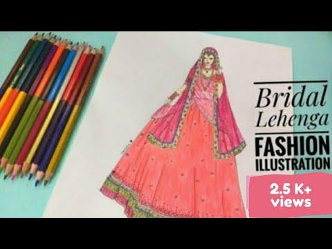 Bridal Lehenga Design Fashion Illustration Youtube