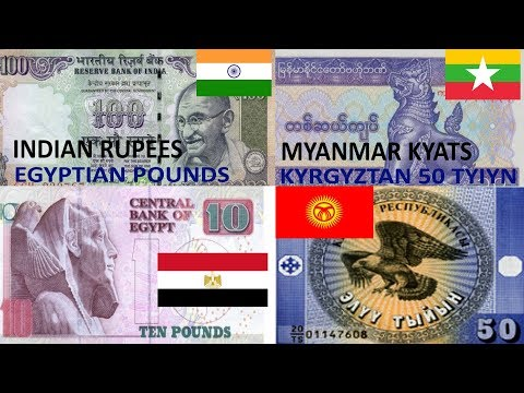 World Banknotes India 100 Rupees, Egypt Pounds , Myanmar Kyats,Kyrgyztan Tyiyn