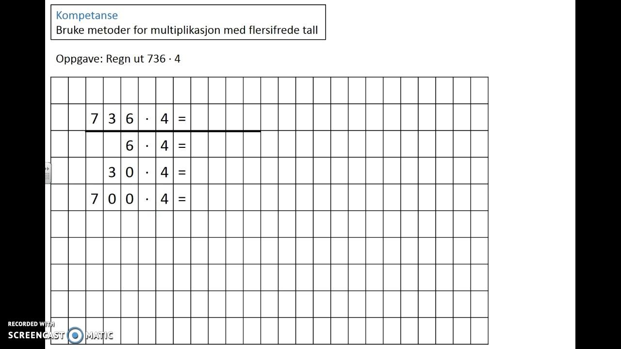 Bruke metoder for multiplikasjon med flersifrede tall