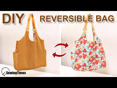 DIY REVERSIBLE  BAG | Corduroy Tote Bag Tutorial | Simple & Easy [sewingtimes]