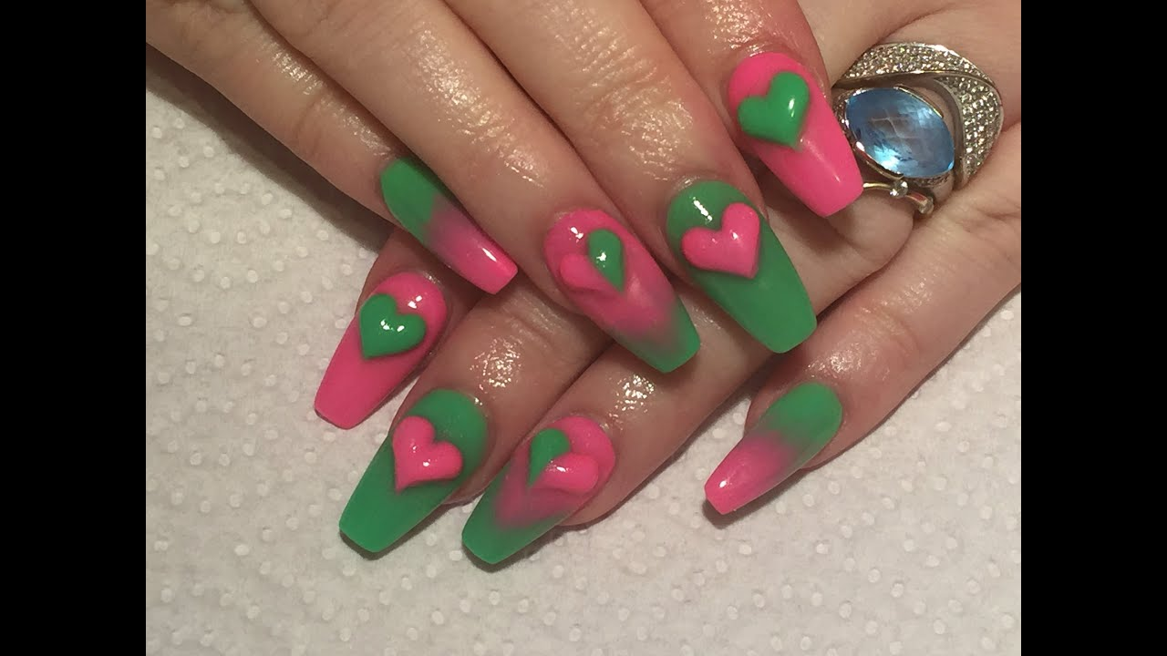 Requested Video - neon pink and green sculpted acrylic ...
