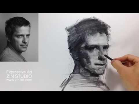 Charcoal Drawing Demo: Impressionism Portrait.