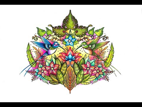 MAGICAL JUNGLE COLORING BOOK: HOW TO COLOR HUMMINGBIRDS REAL TIME TUTORIAL