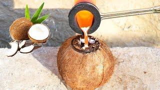 Experiment - Geschmolzenes Kupfer VS Kokosnuss