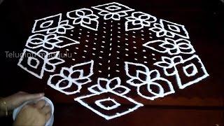 Round Flowers kolam designs with 21-11 midlle   chukkala muggulu with dots  rangoli design