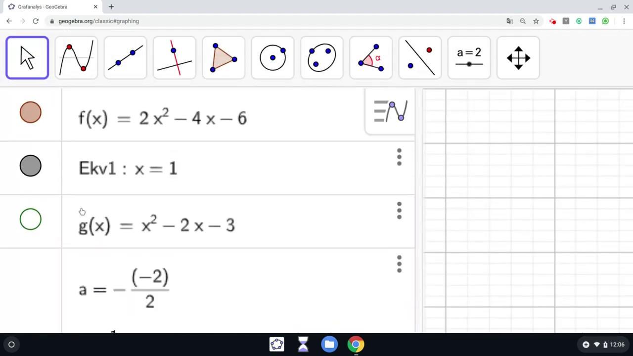 Geogebra - Grafanalys/CAS - Extrempunkter med algebraisk metod