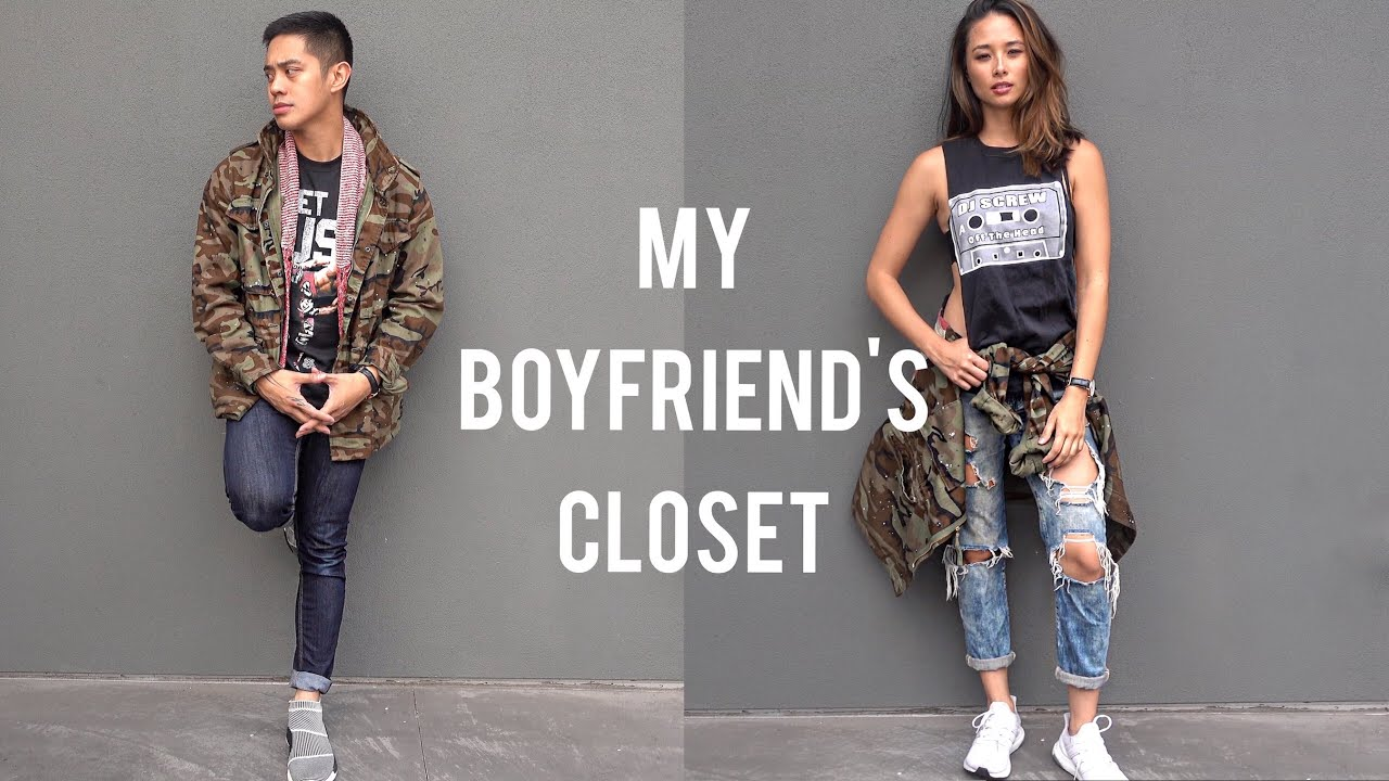 MY BOYFRIEND'S CLOSET | Camo Military Jacket | Brian ...