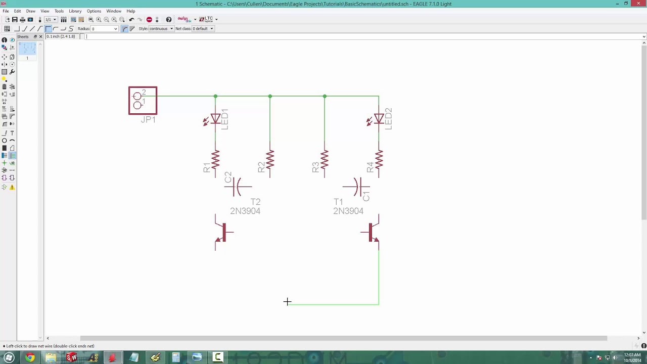 EAGLE PCB Basic Schematics - 02 - YouTube