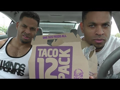 Eating Taco Bell 12 Taco Party Pack @hodgetwins