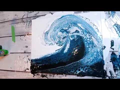 (54) BEST OCEAN WAVE Acrylic Pour EVER!!!