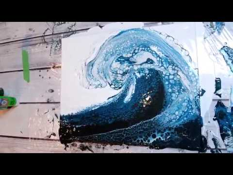 (54) BEST OCEAN WAVE Acrylic Pour EVER!!!