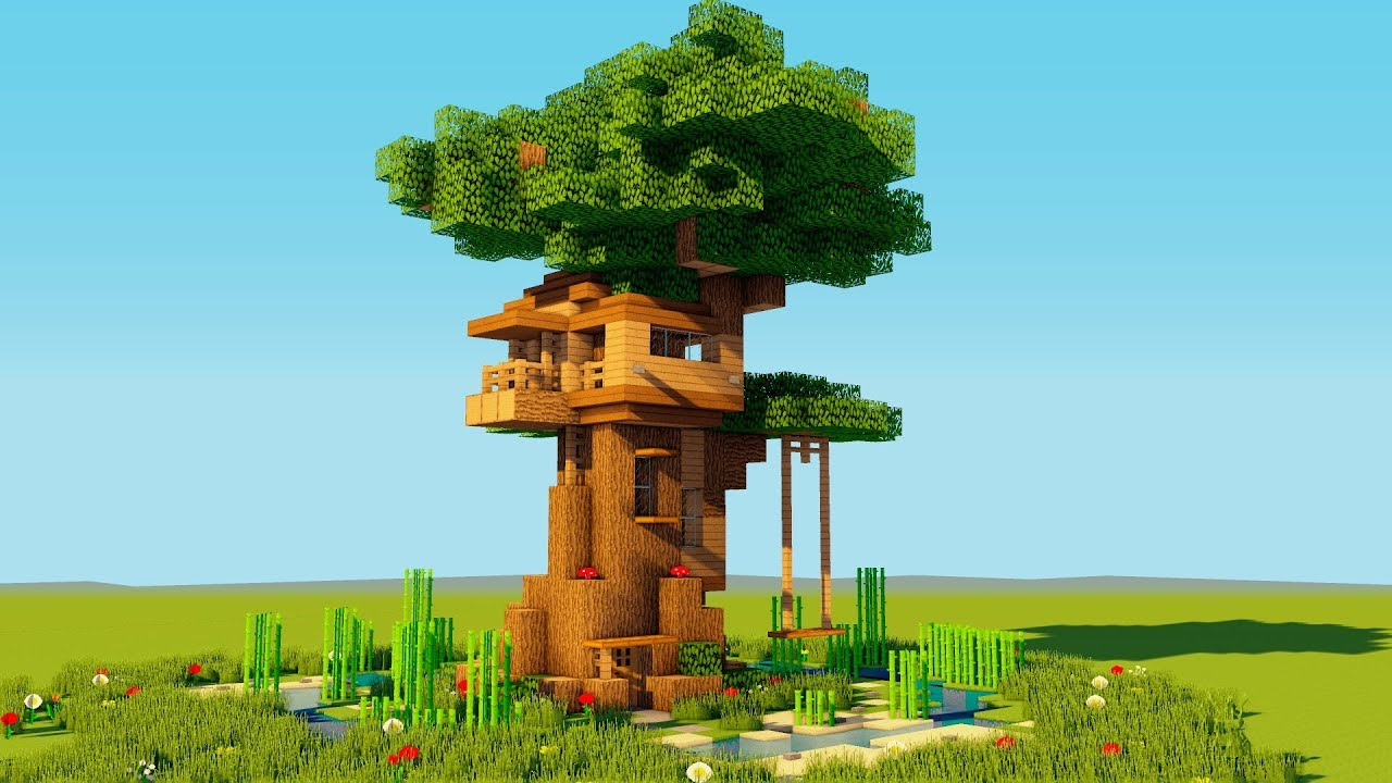 How To Make A Minecraft Tree House  - Easy Starter Treehouse - 2018