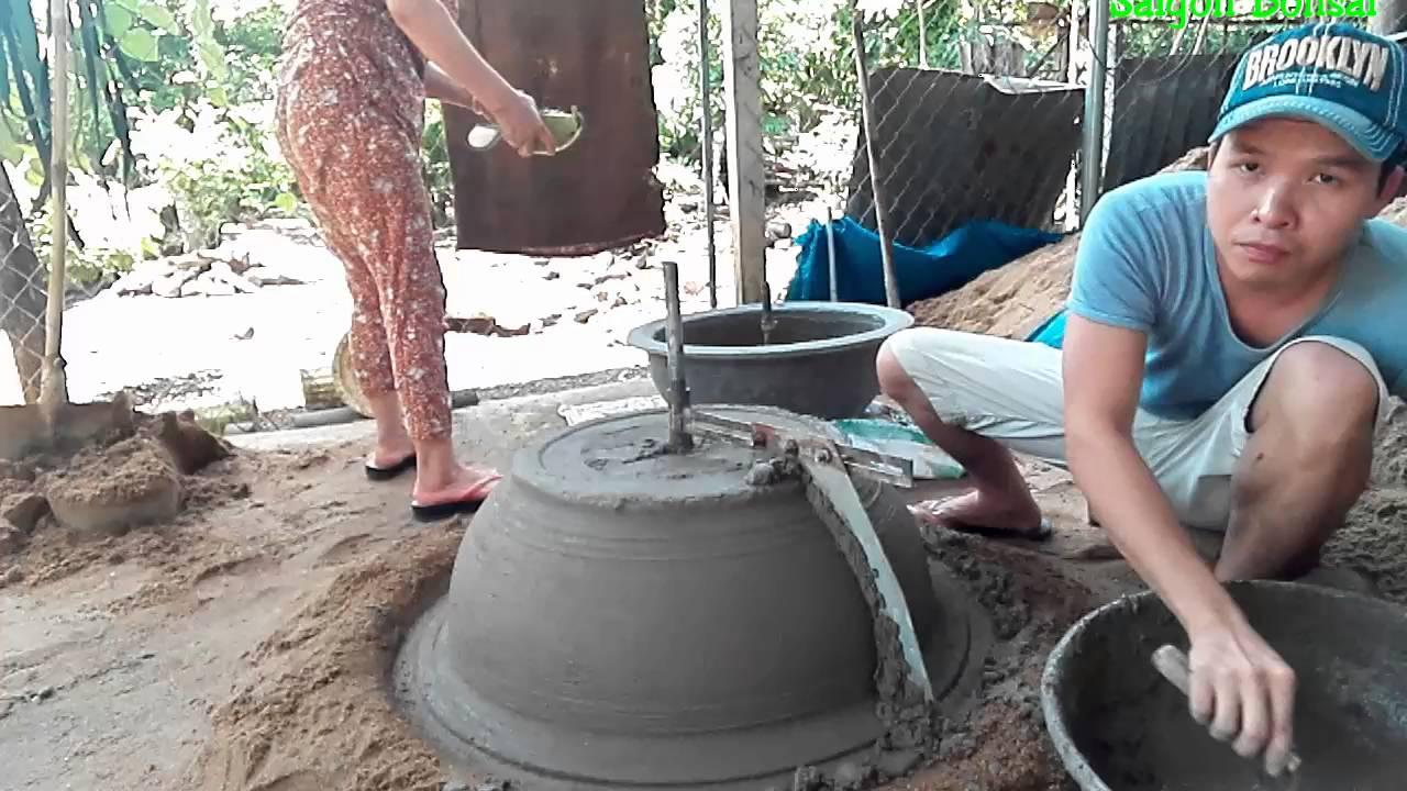 Making Concrete Pot Quay Chau Bang Xi Mang YouTube