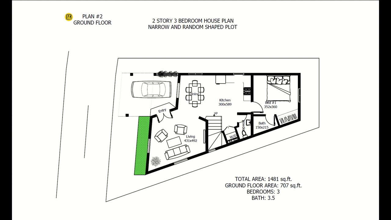 2 STOREY HOUSE PLANS FOR NARROW AND IRREGULAR SHAPED PLOT #HOUSE_PLANS on