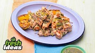 BBQ Salmon Skewer Recipe with Chimichurri