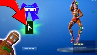 "NEW ""TAKE THE ELF EMOTE"" - 14 DAYS of FORTNITE - DAY 8 REWARDS + LOCKER GLITCH"