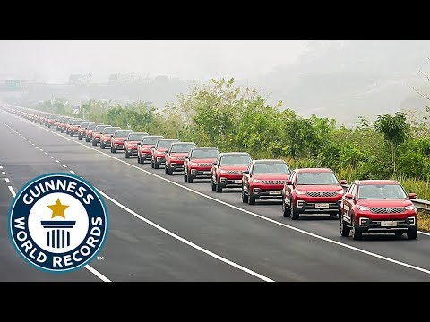 a parade of 55 driverless cars set a new guinness world record
