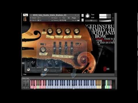 8Dio Solo Violin Designer 1.0: Note: This library has been updated. You can find the new version here: https://8dio.com/instrument/solo-violin-vst-au-aax-kontakt-instruments-samples-designer/  8Dio Solo Violin is a virtual instrument (VST) containing over 4.200 phrases of the solo violin. The library is designed to get the optimal amount of content our of the phrases and the options are limitless. This video demonstrates some of the features, including the ability to time-stretch/time-compress any phrase by using pitch-bender and the ability to
