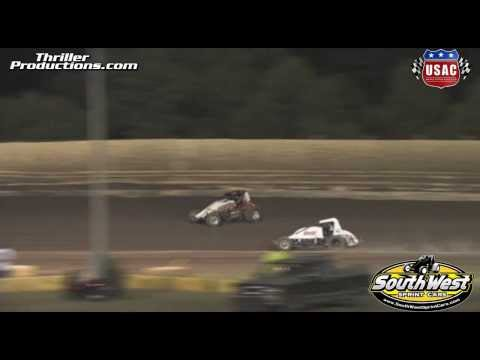 USAC Southwest Sprint Cars at Creek County Speedway 8-21-13 Highlights