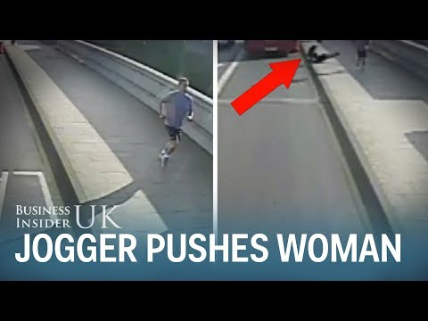 CCTV footage shows the shocking moment a jogger appears to push a woman in front of a London bus
