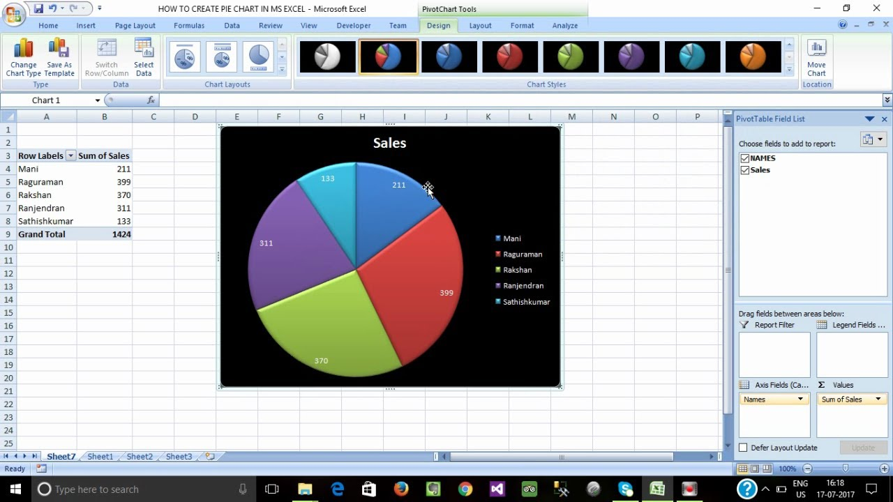 How To Create Pie Chart In Ms Excel Tamil Pie Chart Making In Ms