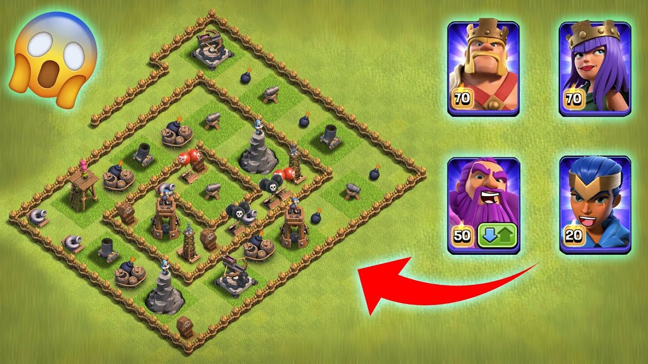 Maze Level-1 Defence Base vs All Max Heroes | Clash of Clans | *Epic Attack* | NoLimits